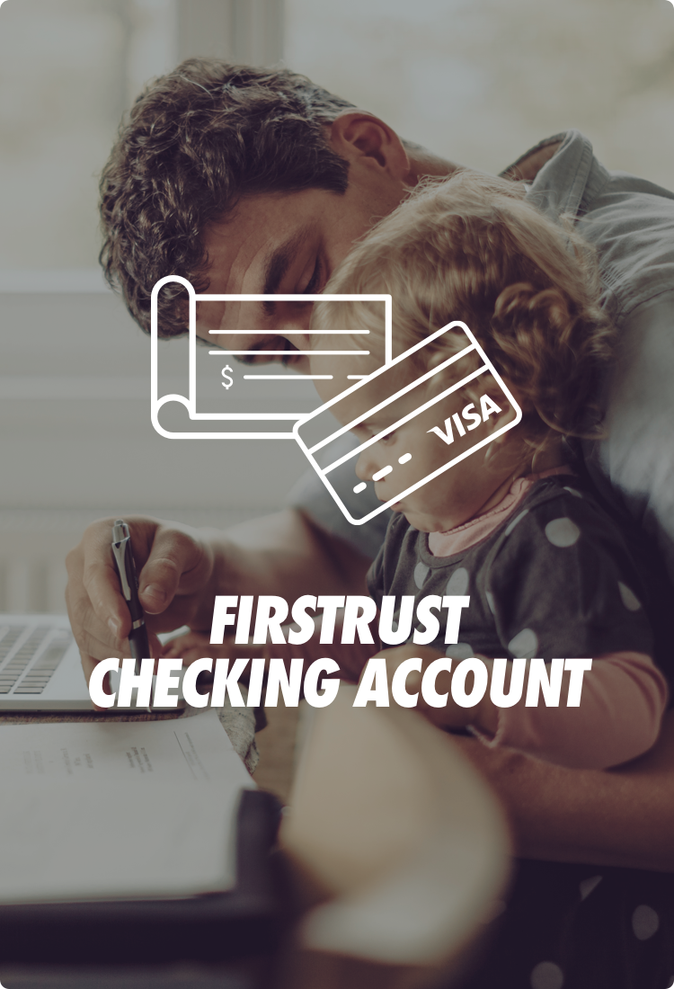 Father and child at desk with a symbol of checkbook and visa card