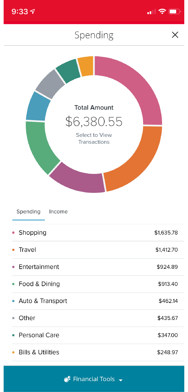 Mobile App Spending Page