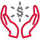 Hand holding buildings with money sign